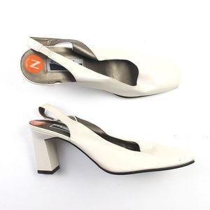 Caressa Womens White Slingback Pumps DR02060